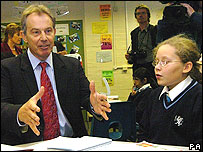 Tony Blair in Birmingham school