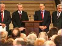 Left to right: Ian Paisley, Martin McGuinness, Tony Blair and Bertie Ahern
