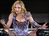Madonna performing in London