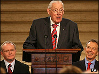 Ian Paisley, pictured delivering his speech at Stormont