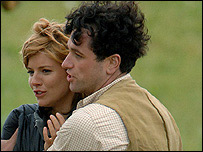 Sienna Miller and Matthew Rhys filming in New Quay