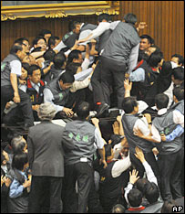 Brawl in Taiwan's parliament