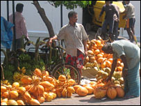 A street vendor in Male