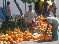A street vendor in Male