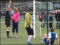 Birmingham's club secretary being shown a yellow card