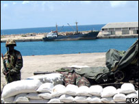 An AU peacekeeper at the Somali port of Mogadishu