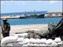 An AU peacekeeper at the Somali port of Mogadishu