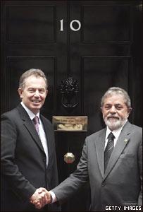 Tony Blair y Luis Inazio Lula da Silva