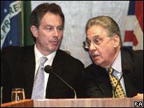 Tony Blair y Fernando Henrique Cardoso en 1999