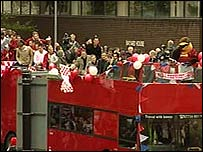 The Walsall players parade through the town