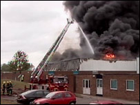 Adhesive factory fire