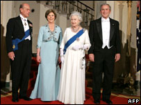 Prince Philip, First Lady Laura Bush, the Queen and President George W Bush