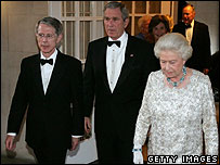 Britain's Ambassador to the United States Sir David Manning, President Bush and the Queen