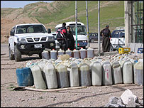A collection point in Iraqi Kurdistan for petrol smuggled from Iran