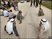 Palestinian farmers protest against travel barriers near Ramallah in the West Bank