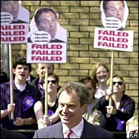 Protesters greet Tony Blair in London in 2001