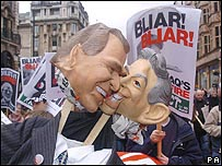 Caricatura de Tony Blair y George W. Bush