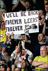 Leeds fans show a banner during the Coca-Cola Championship match between Derby County and Leeds United at Pride Park on 6 May 2007