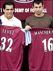 Carlos Tevez (left) and Javier Mascherano