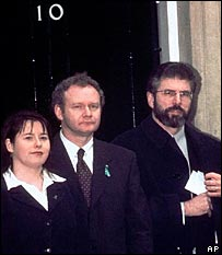 Michelle Gildernew, Martin McGuinness and Gerry Adams in 1997