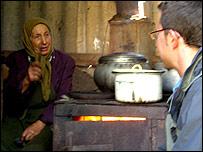 Anna (left) talks to Stefan