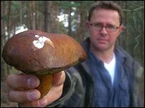 Stefan holding a radioactive mushroom