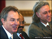 British Prime Minister Tony Blair chairs a meeting of the Commission for Africa at Lancaster House in London 24 February 2005 with his Ethiopian counterpart Prime Minister Meles Zenawi and Bob Geldof