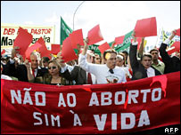 Anti-abortion activists protest in Brasilia ahead of the Pope's visit