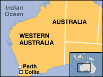 Map showing location of Perth and Collie in Western Australia