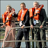 Tony Blair on a boat in Pembrokeshire