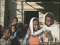 Ethiopians walk in a village near Mekele in northern Ethiopia
