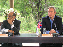 Ethiopian Prime Minister Meles Zenawi and Tony Blair at the news conference