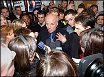 Greg Dyke, mobbed after his resignation in 2004