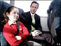 David Cameron attempts to engage a schoolgirl in conversation
