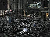 El escenario del Royal Theatre desarmado