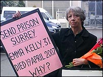 Pauline Campbell protesting outside Send Prison in Surrey
