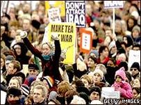 Manifestantes en Londres en 2003
