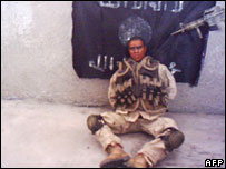 An image from an extremist website purporting to be of a US hostage but in reality of a doll (Feb 2005)