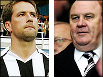 Newcastle striker Michael Owen (left) and chairman Freddy Shepherd