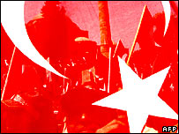 Turkish flag in pro-secular rally