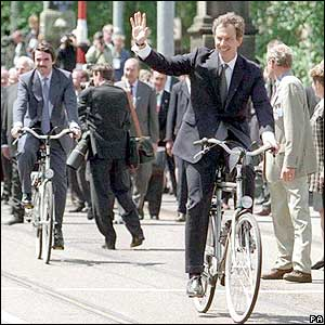 Tony Blair cycling at EU summit in Amsterdam