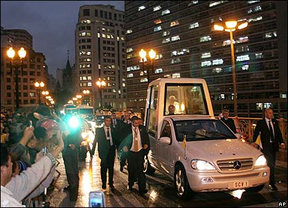 The Pope in his popemobile in downtown Sao Paulo
