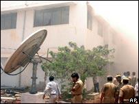 Smoke from Dinakaran office in Madurai