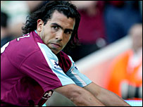 West Ham striker Carlos Tevez