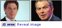 "Pictures of Tony Blair in 1997 and 2007, with ""open - reveal image"" instruction"