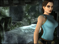 Lara Croft alongside underground waterfall