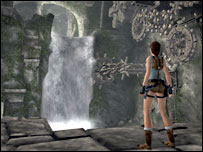 Lara Croft facing waterfall