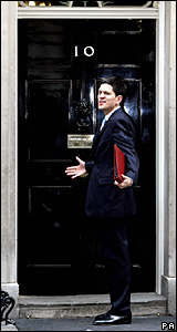 David Miliband enters 10 Downing Street