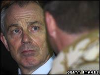 Tony Blair visits British troops in Basra in 2006