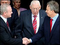 Martin McGuiness, Ian Paisley and Tony Blair